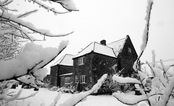 snow at tan house in wiltshire