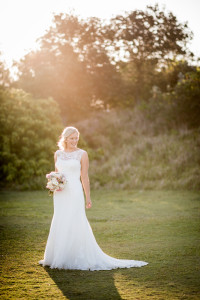 bride glowing in light