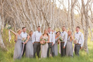 bridal party in trees