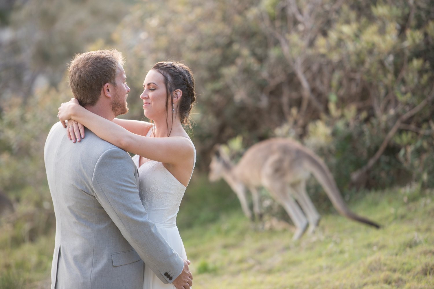bride and groom with kangaroo