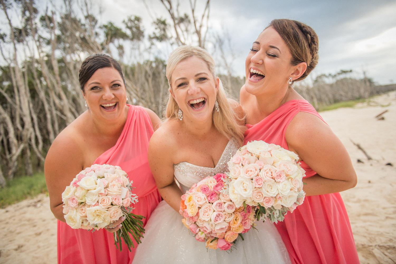 happy bridesmaids at a Straddie wedding