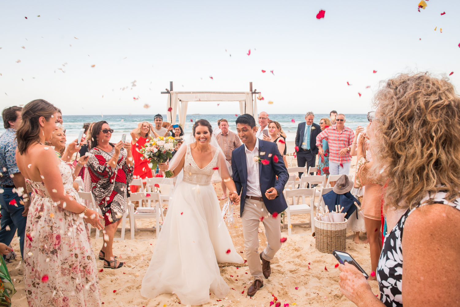 walking up the aisle on the beach