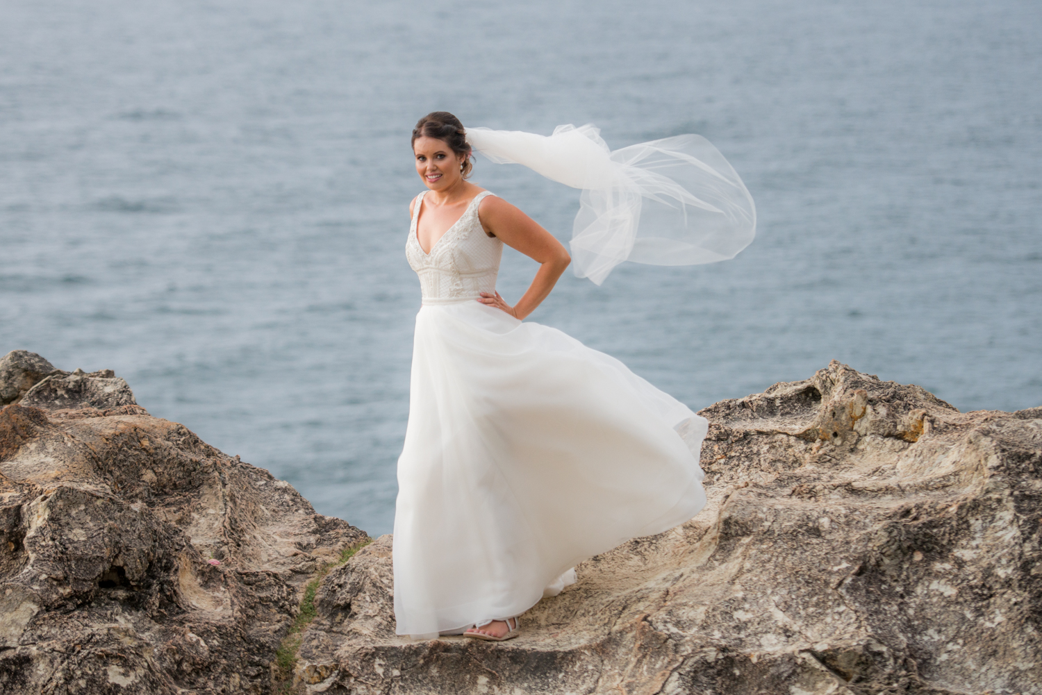 bride on the rocks, North Stradbroke Island