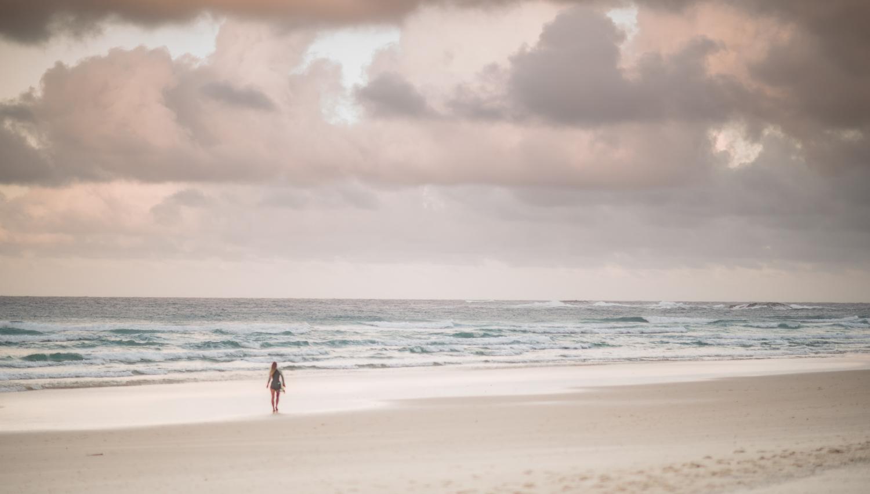 surfer on Deadman's Beach