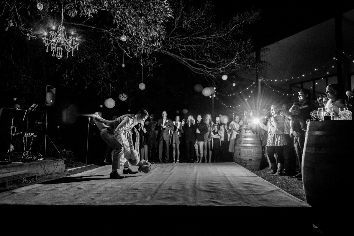 Emma and Anthony | Stradbroke Island wedding | couple dancing in Point Lookout Community Hall