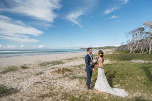 first look Stradbroke Island tipi Marquee wedding