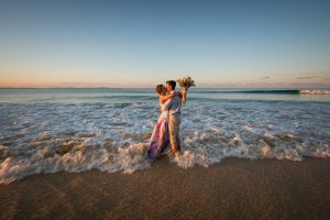 Serena and Caleb | fearless bride getting wet after the wedding | drown the gown | stradbrokeislandphotography.com