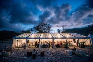 wedding marquee on home beach, Straddie