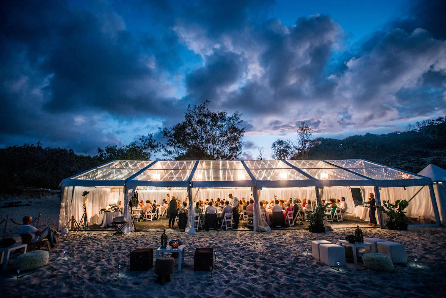 wedding marquee on home beach, Straddie