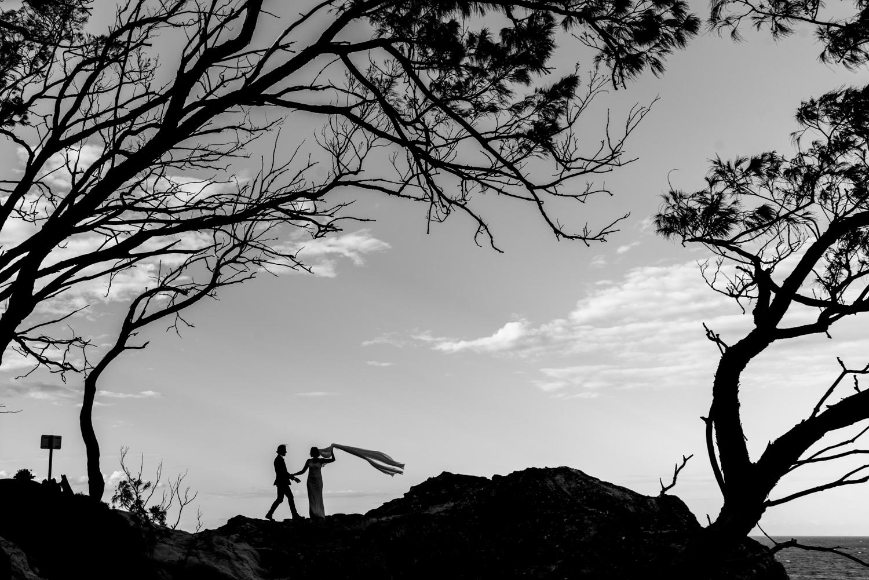 black and white silhouette wedding landscape
