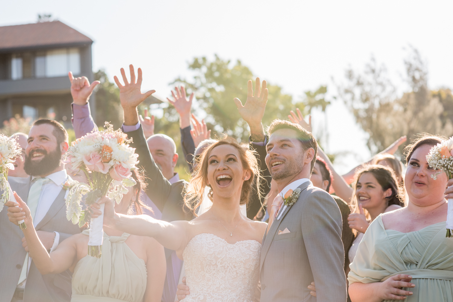 bride and groom celebrate with their guests