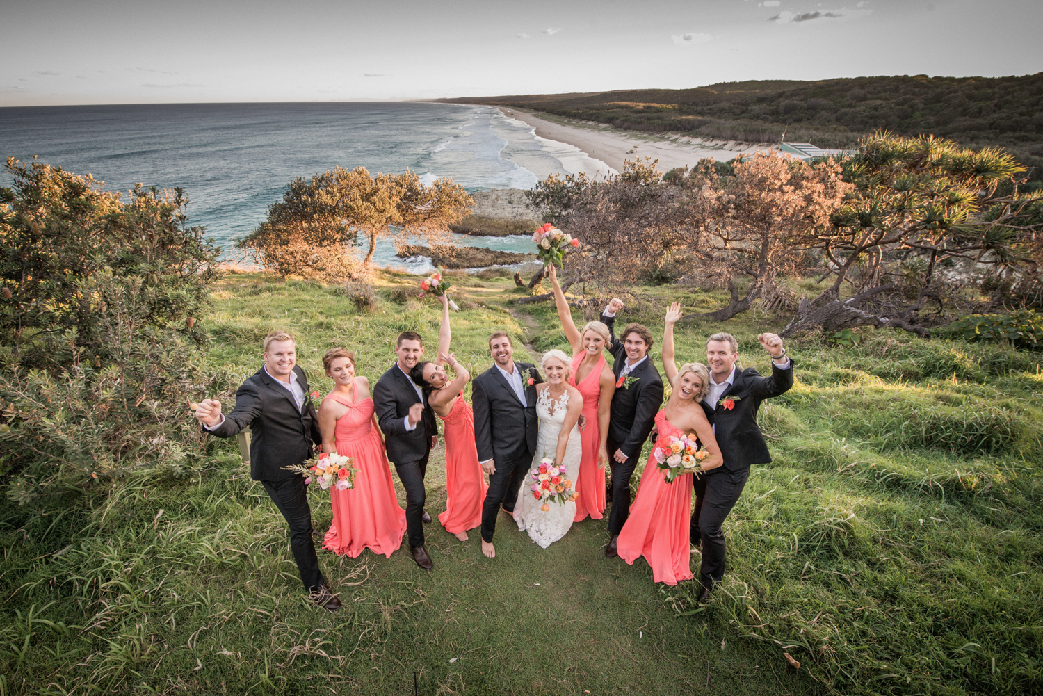 bridal party with a view over Main Beach