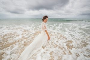 Joan and Matt | jumping in the ocean in you wedding dress just minutes after getting married | North Stradbroke Island | stradbrokeislandphotography.com